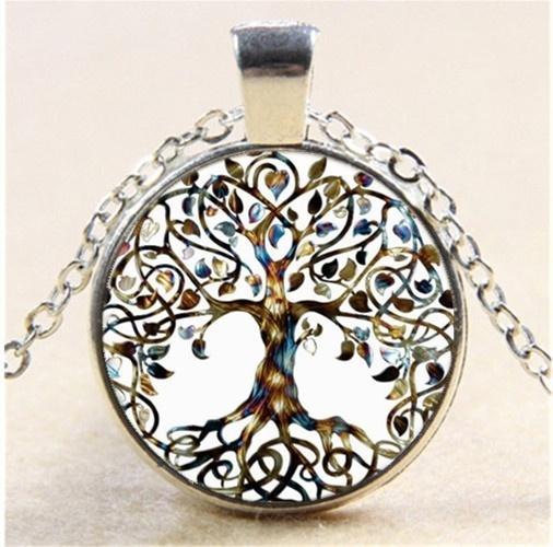 2019 Nuevo árbol de árbol de la vida 25 m convexo redondo de plata cadena de cristal colgante collar regalo de la joyería