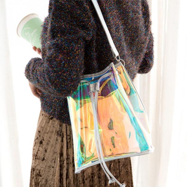 Women Handbag Laser Shoulder Bag Drawstring Bucket Bag Shopping Travel Tote Purse