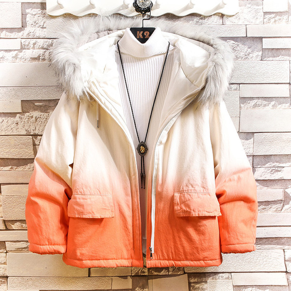 2020 winter new men's hooded fur collar gradient color loose, casual cotton jacket teen - from $61.33