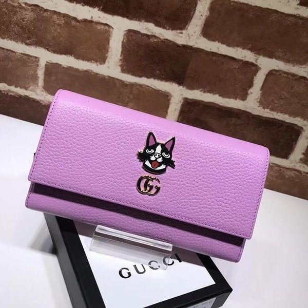Top Quality 2019 Celebrity Design Letter Dog Head Metal Buckle Two Fold Wallet Long Purse Cowhide Leather 499324 Clutch