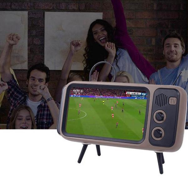 FAshion Pth800 Newly Cute Mini HIFI mobile phone TV shape Bluetooth Stereo Speaker Wireless Super Bass Speakers USB Charge Phone Holder