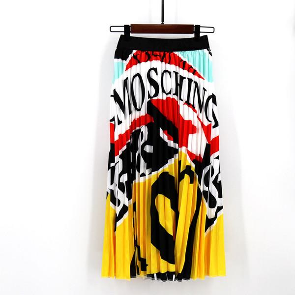 Gonna a pieghe stampa digitale di moda S-3xl per donna Gonna lunga elastica a vita alta Gonne estive gialle stampate estive Donna