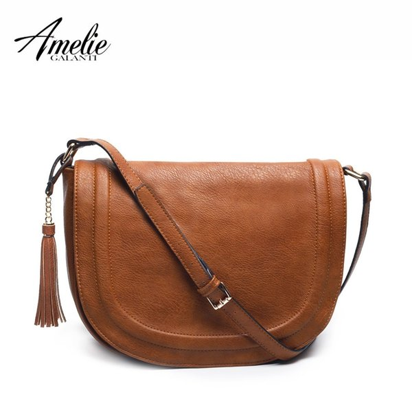 Amelie Galanti Large Saddle Bag Crossbody Bags For Women Brown Flap Purses With Tassel Over The Shoulder Long Strap Y19052402