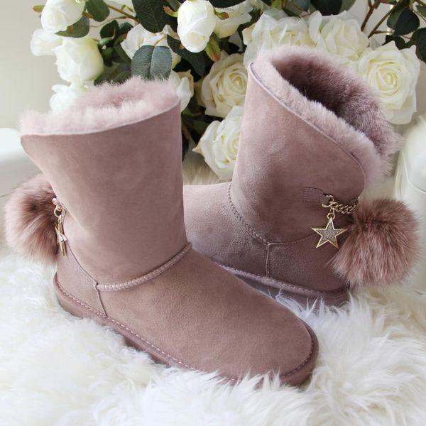 Yeni Geliş Avustralya Klasik Kadın Boots Kadın Hakiki Sheepskin Kar Boots Kadın Ayakkabı