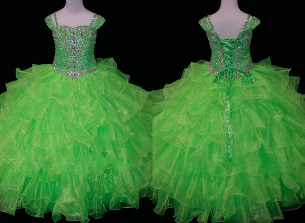 Carino Lime Green 2019 Toddler Girls Pageant Abiti Ball Gown Organza Ruffled Cap Maniche corte Little Girls Crystal Bead Flower Girls dress