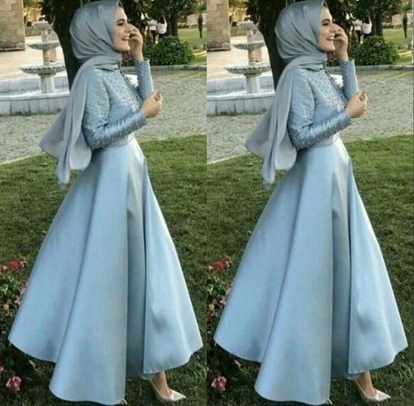Luz Azul Modest Árabe Vestidos de Noite com Kaffiyeh Manga Comprida Saudi Dubai Musilm Prom Vestido de Festa Tornozelo Comprimento BC2051
