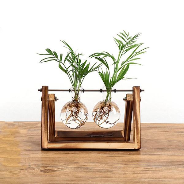 Yaratıcı ampul vazo bitki cam hidroponik konteyner çiftlik dekorasyon ahşap saksı ev dekorasyonu