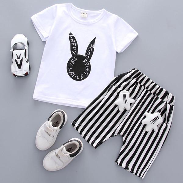 Neugeborenes Kind-Baby-Kleidung-Karikatur-Tops T-Shirt + Gestreifte Shorts Hosen New 2ST Outfits Set Summer Infant Jungen Kostüm