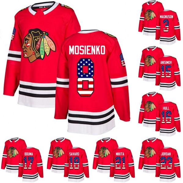 Chicago Blackhawks USA Flag Jersey 8 Nick Schmaltz 14 Chris Kunitz 15 Artem Anisimov 19 Jonathan Toews 24 Dominik Kahun Eishockey-Trikots