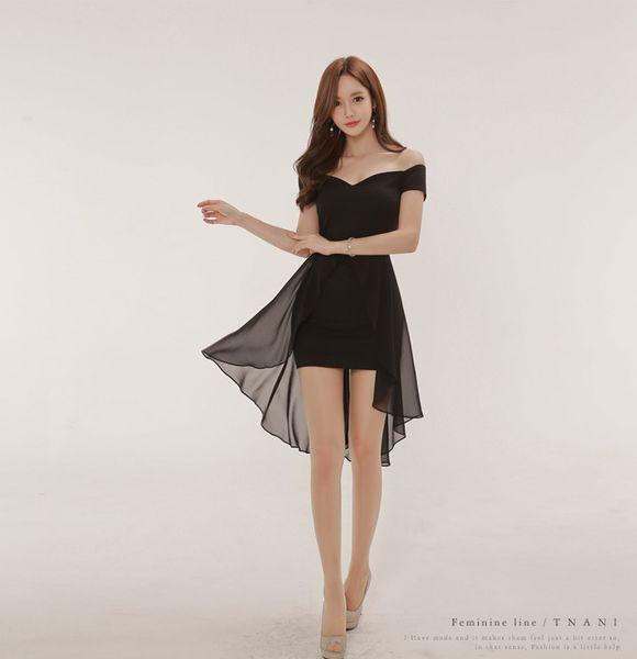 Hot Summer Wear Korean Sexy Slash Neck Chiffon Splicing Swallow Tail Dress Hip Black Skirt A0086