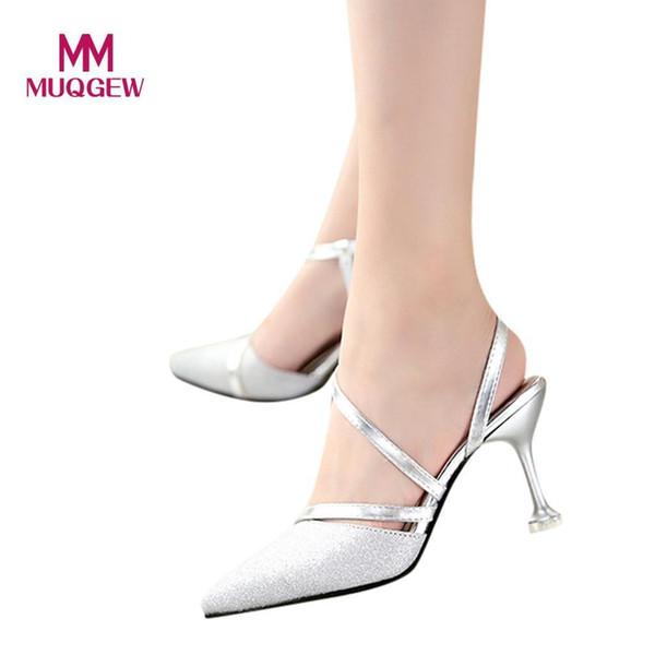 002cbda38c Sapatos de Vestido Muqgew 2019 Mulheres Apontou Único Salto Alto Sexy  Stiletto Sexy Lantejoulas Sandálias Da