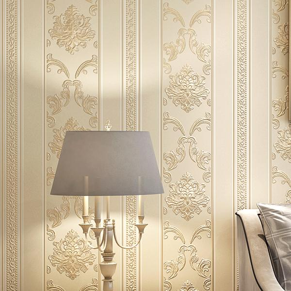 Homedecor Luxo high-end simples listras verticais européias 3d profunda em relevo não-tecido papel de parede quarto sala de estar TV fundo papel de parede