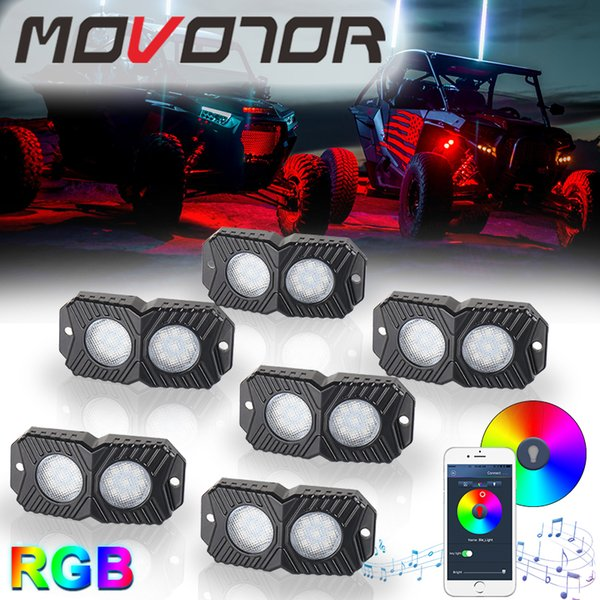6 Pods RGB Led Rock Light Kit Bluetooth Control Wiring Harness & Switch Offroad Lamps for Offroad SUV 4WD ATV UTE Car Trucks