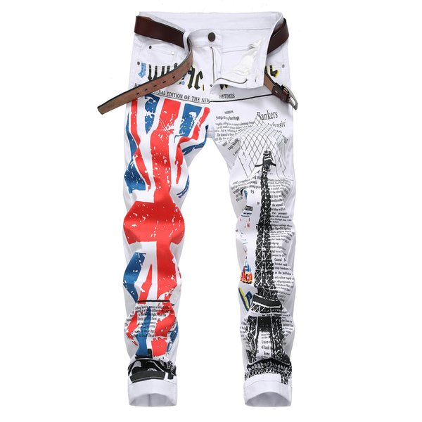 Acheter Casual Angleterre Imprimer Jeans Hommes Droite Biker Jeans Nouvelle Mode élastique Pantalon Mince Denim Pantalon Haute élasticité Pantalon De