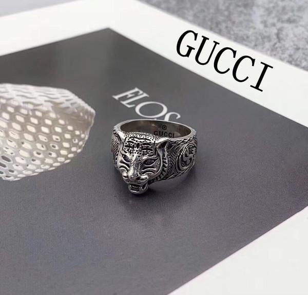 925 plata esterlina gg anillos 3D negro cabeza de tigre único anillo animal para hombres mujeres Biker Punk joyería marca novio regalo de lujo