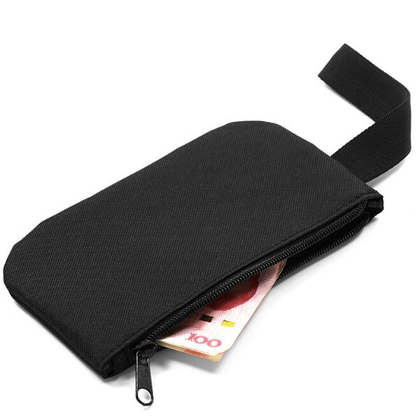 New Fashion Solid Black Oxford Men Handbag Key Wallet Hand Bag Zipper Clutch Phone Holder Mini Wristlet