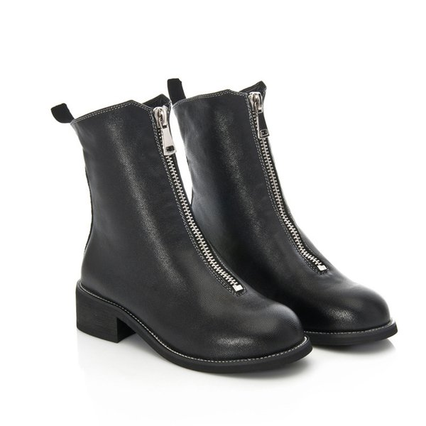 Women Genuine Leather Roman Martin Boots Mid-calf Boots Black Zip Motorcycle Boots Chunky Heels Fashion Shoes