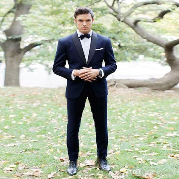 Venta caliente azul marino desgaste del novio solapa del mantón de dos piezas de la boda de los smokinges del ajuste del ajuste para hombre del traje desgaste formal