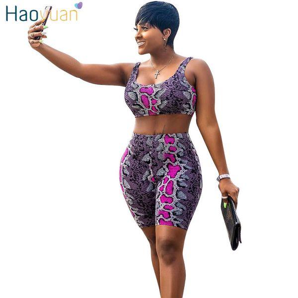 Haoyuan Snake Print 2 Piece Outfits Women Tracksuit Summer Crop Top+biker Shorts Sweat Suit Sexy Club Two Pcs Matching Sets C190416