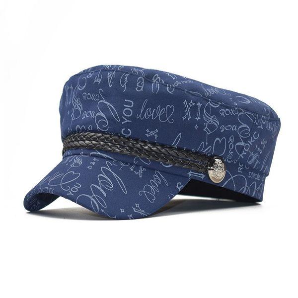 New cross-border pure cotton flat-topped naval hat girl summer Korean version Plaid Baitao British retro Beret