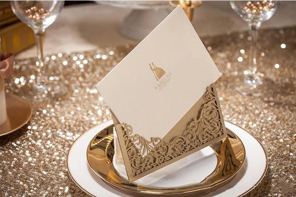 Inviti di nozze carte personalizzabile Con Busta modello elegante kit di stampa Invito duplice pagine bianche AN2810