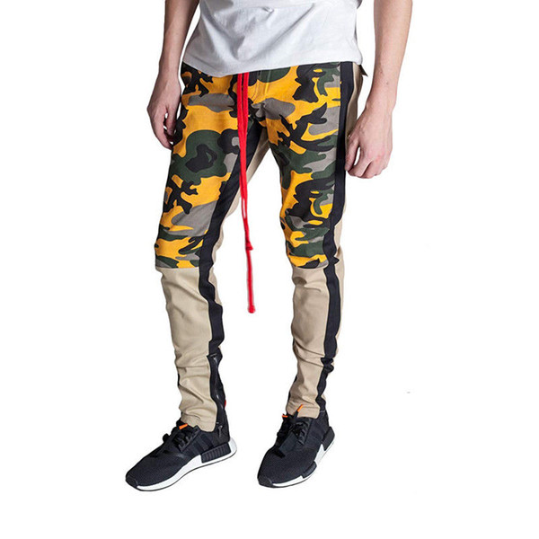 Erkek Moda Patchwork Renk Kamuflaj Kargo Bilek Fermuar Pantolon Baghee Taktik Pantolon Hip Hop Casual Pamuk Çoklu Pantolon Streetwear