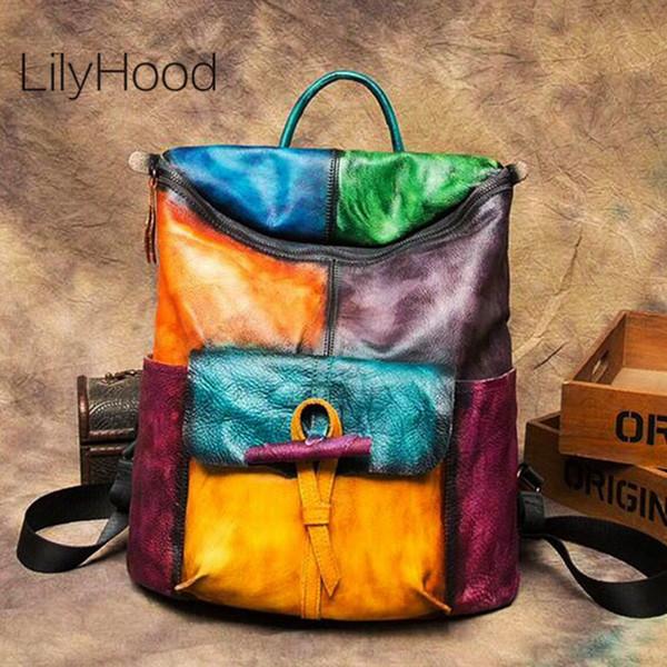Sac à dos en cuir brossé pour femme, en cuir véritable, grande capacité, sac à dos, femme, vintage, multicolore, patchwork, sac à dos