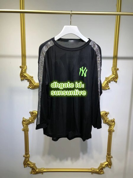 High End Women Fashion Luxury Designer Oversize T-Shirt With Letter Rhinestone Sheer Top Pullover Shirts Female Runway Tee Blouse Tops 2019