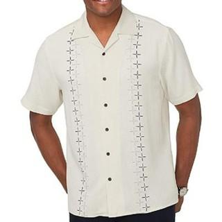 Mens Clothing Silk White Shirt Men Short Sleeve Embroidery Plus Size Big and Tall Casual Summer Turn-down Collar