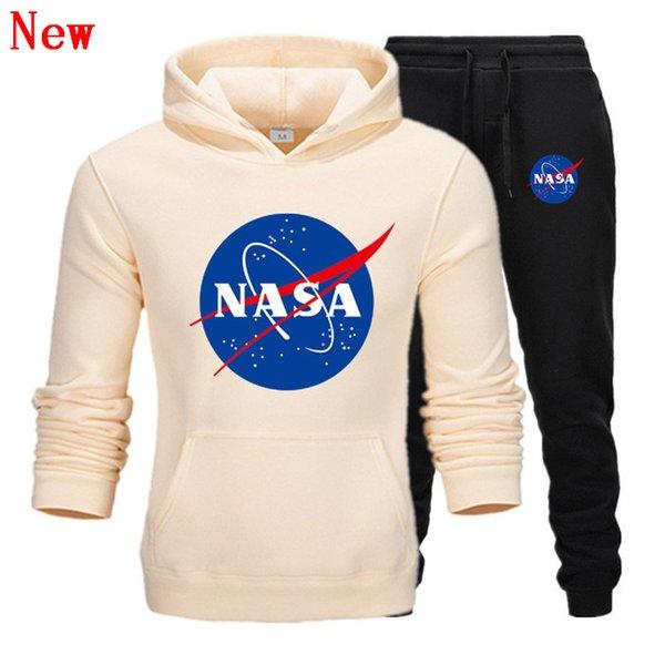 Модельер NASA Спортивный костюм Весна Осень Повседневная Мужская Марка Спортивная Мужская Спортивные Костюмы Высокое Качество Толстовки Мужская Одежда QJ7