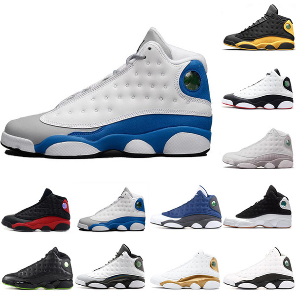 13s classic 13 bred basketball shoes Italy Blue olive HOF DMP flint black cat he got game hyper royal barons XIII Men Sneakers US8-13