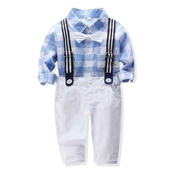 2019 Autumn boys cotton bow blue plaid long sleeve shirts +bib pants suit kids outwear party gift fashion gentleman clothes set