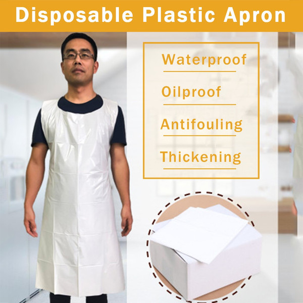 best selling Free Ship Wholesale Disposable Apron Transparent Easy Use Kitchen Aprons For Women Men Kitchen Cooking Cleaning Plastic Aprons
