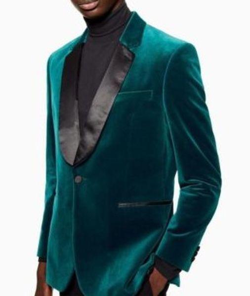 Customize One Button Velvet Groom Tuxedos Notch Lapel Men Suits 2 pieces Wedding/Prom/Dinner Blazer (Jacket+Pants+Tie) W682
