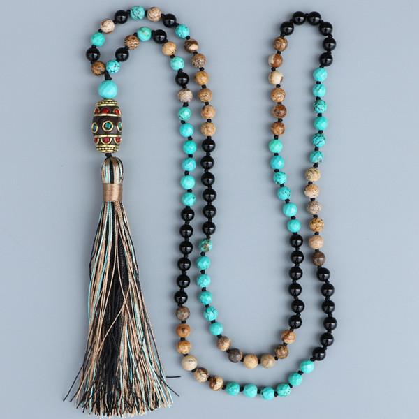 Edothalia New Bead Necklace Women Black Onyx, Picture Stone, Faceted Blue Stone Nepal Pendant Necklace Gift Fashion Jewelry J190531