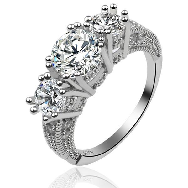 Vente chaude ! 5pcs / lots bijoux de femmes classiques cadeau de fiançailles bague de mariage en argent 925 saphir blanc mode