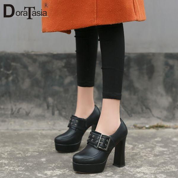 DORATASIA 2019 Mode Nouveau En Gros Grande Taille 32-42 Zip Up Plate-Forme Bottines Bottes Femme Chaussures Chaussures À Talons Hauts Printemps Femme