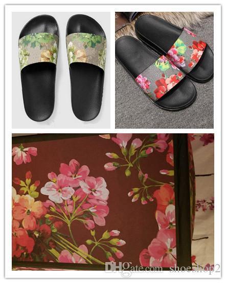 Мода слайд сандалии тапочки для мужчин женщин с оригинальной коробке 2018 горячий дизайнер цветок печатных унисекс пляж шлепанцы тапочки