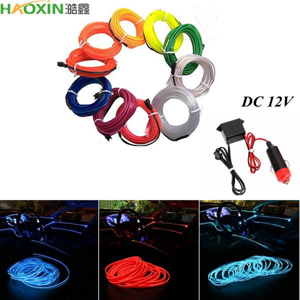 top popular HaoXin Car lights 10 Color Sewing Edge Neon Light Car Decor Lighting Flexible EL Wire Rope Tube LED Strip Car Cigarette Lighter Socket Plug 2021