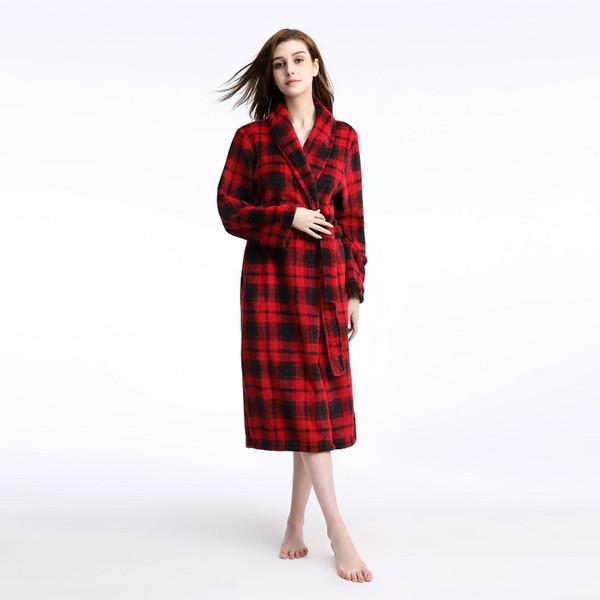 Plus size Women Men Winter Flannel Robes femme homme bathrobe oversize warm Coral Fleece dressing gown plaid robe autumn