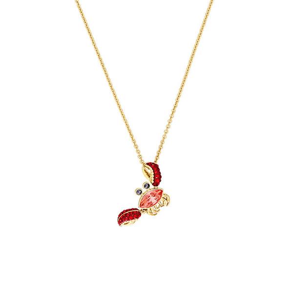 2019 neue Swarovski Kristall süße rote Krabbe Anhänger Halskette Sommer Vitalität Mode wilde Frau Schlüsselbein Kette Marke Boutique Schmuck