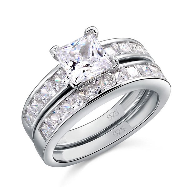 Star Solid 925 Sterling Silver 2-Pcs Wedding Engagement Ring Set 1 Ct Princess Cut Jewelry CFR8020