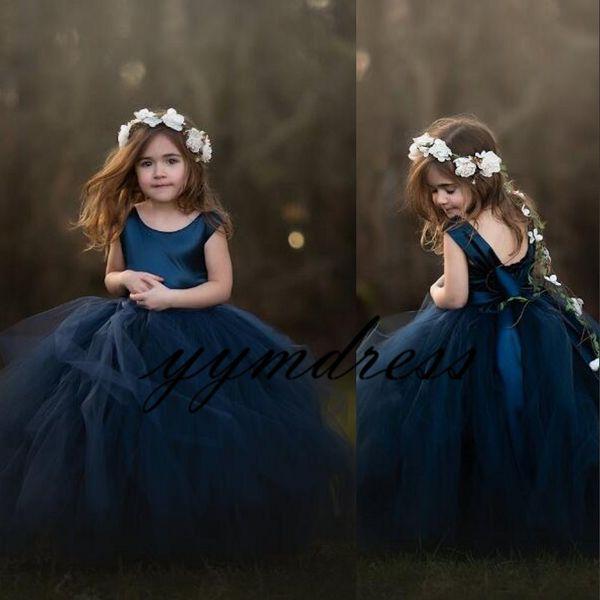 Blue Girls Vestidos de desfile Vestidos de niña de flores sin mangas con escote redondo para la boda Vestido de Comunión Puffy para niños