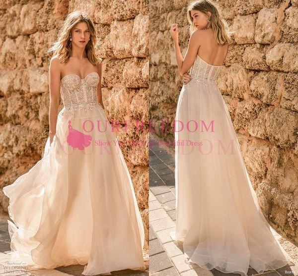Berta 2020 Muse Strapless Wedding Dresses Embellished Bodice Corset Back A Line Chapel Train Boho Vintage Champagne Bridal Gown Custom Made