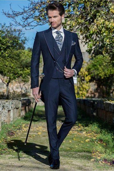 New Morning Style One Button Navy Blue Wedding Groom Tuxedos Peak Lapel Groomsmen Mens Dinner Blazer Suits (Jacket+Pants+Vest+Tie) 459