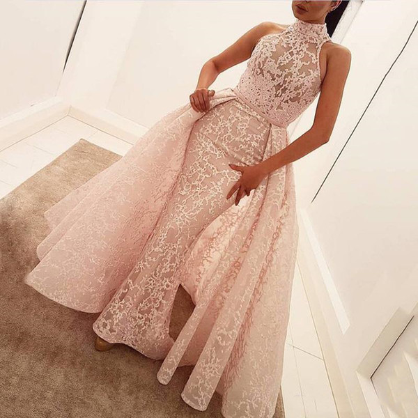 Zuhair Murad Evening Dresses 2019 Sleeveless Pink Lace High Neck Formal Party Gowns Detachable Train Pageant Celebrity Arabic Prom Dresses