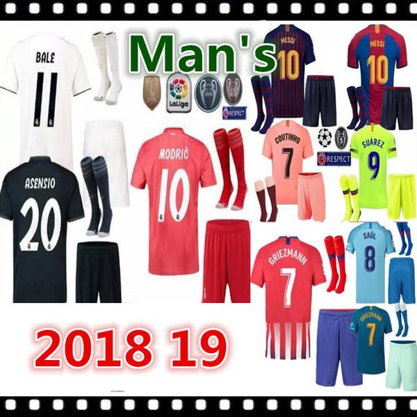 2018 2019 Real Madrid Trikots Erwachsene Sets 18 19 ASENSIO MODRIC BALE ISCO RAMOS Fußballtrikots Heim-Auswärts Herren-Kits anpassen