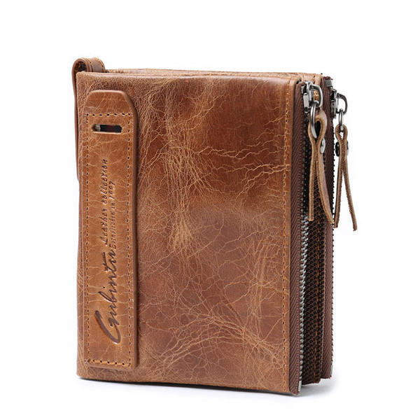 Vintage Men Genuine Leather Wallet Short Purse Small Wallets With Zipper Up Coin Pockets Purses Handbag Brown Fa1