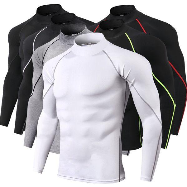 Stand Collar Dry fit Sport T Shirt Men Running Compression Shirt Long Sleeve Rashguard Male Gym Training Tee Tops Sportswear