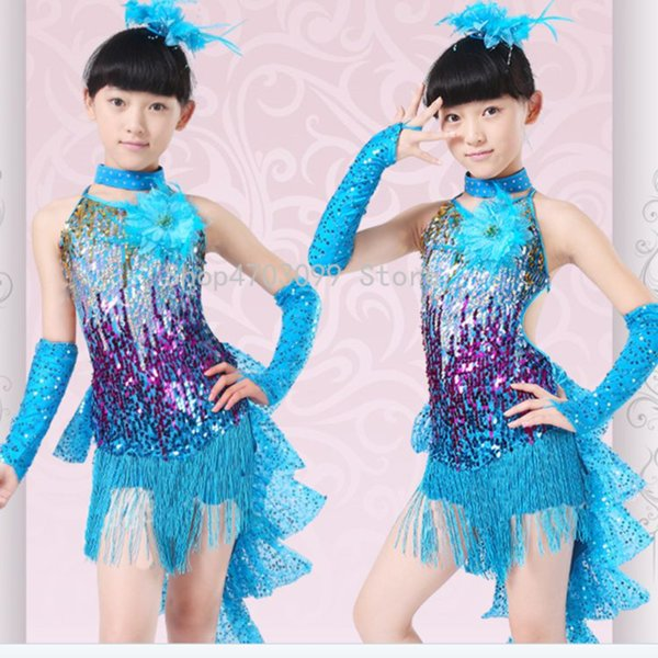 2019 new models latin dance dress for girls costumes kids clothes ballroom competition dresses fashion leotard sequin sequined